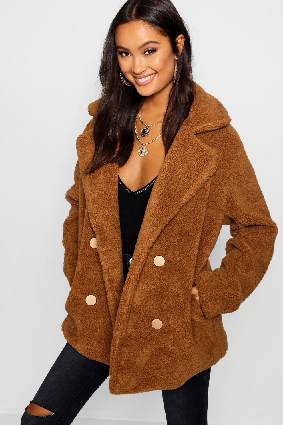 0fbf2d59cf Womens Brown Double Breasted Teddy Faux Fur Coat