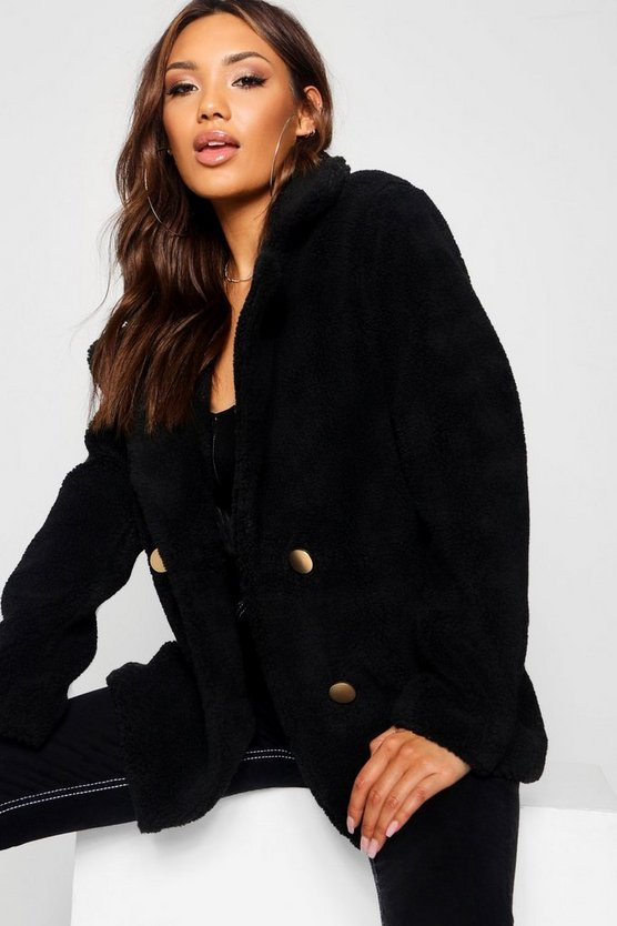 Womens Black Double Breasted Teddy Faux Fur Coat