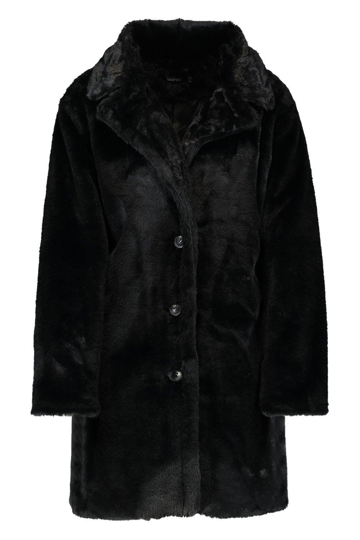 negro con piel cuello en Abrigo sintética tOqFwnxX5
