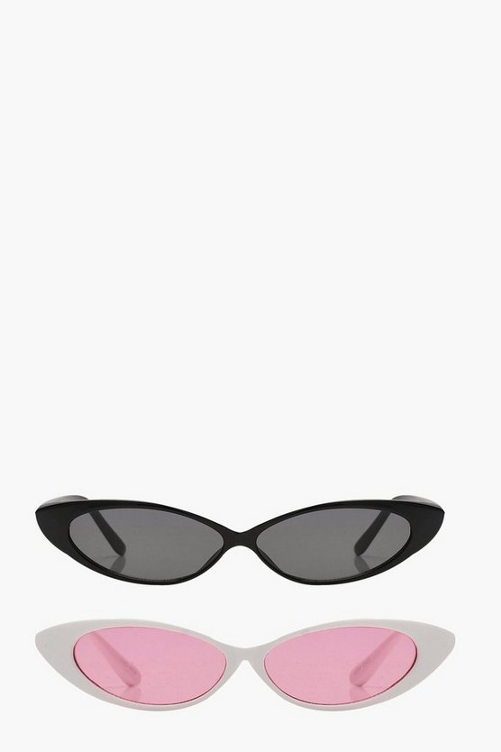 2 Pack Super Slim Cat Eye Sunglasses