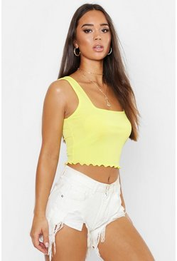 Lemon Square Neck Lettuce Hem Crop