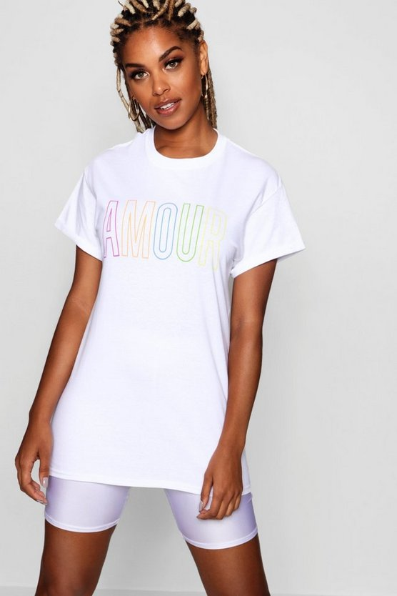 Amour Rainbow Slogan Tee