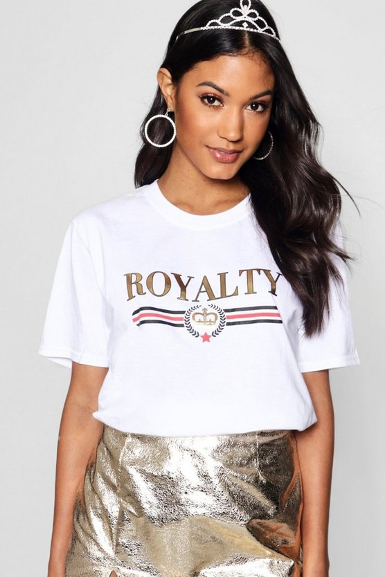 T-shirt à Slogan imprimé métallique Royalty