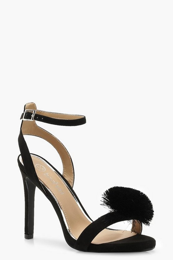 Wide Fit Pom Pom Two Part Heels