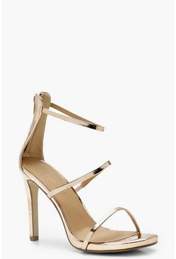 Womens Rose gold Wide Fit 3 Band Stiletto Sandals