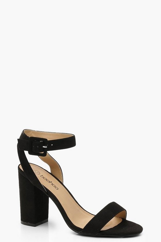 Womens Black Wide Fit Two Part Block Heels