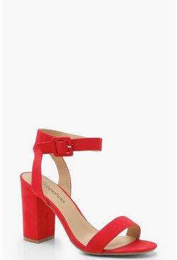 Womens Red Wide Fit Two Part Block Heels
