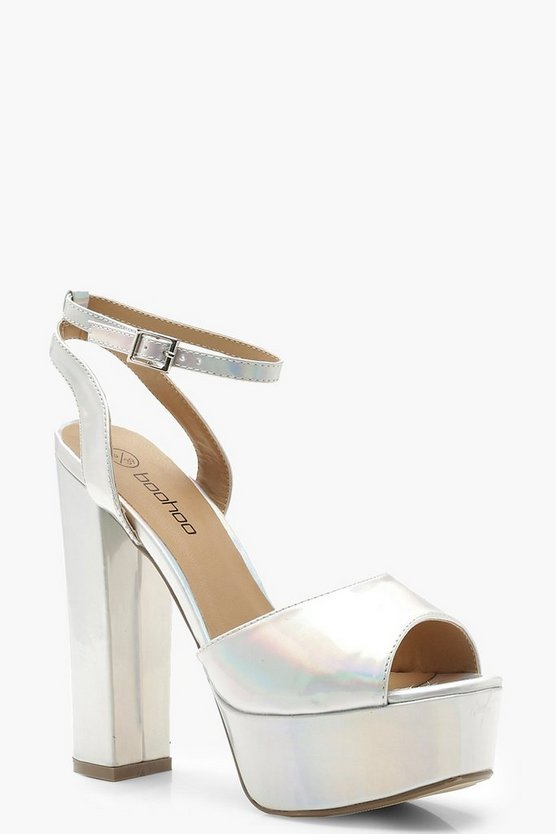 Wide Fit Iridescent Skyscraper Platform Heels
