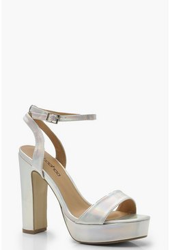 Womens Silver Wide Fit 2 Part Platform Heels