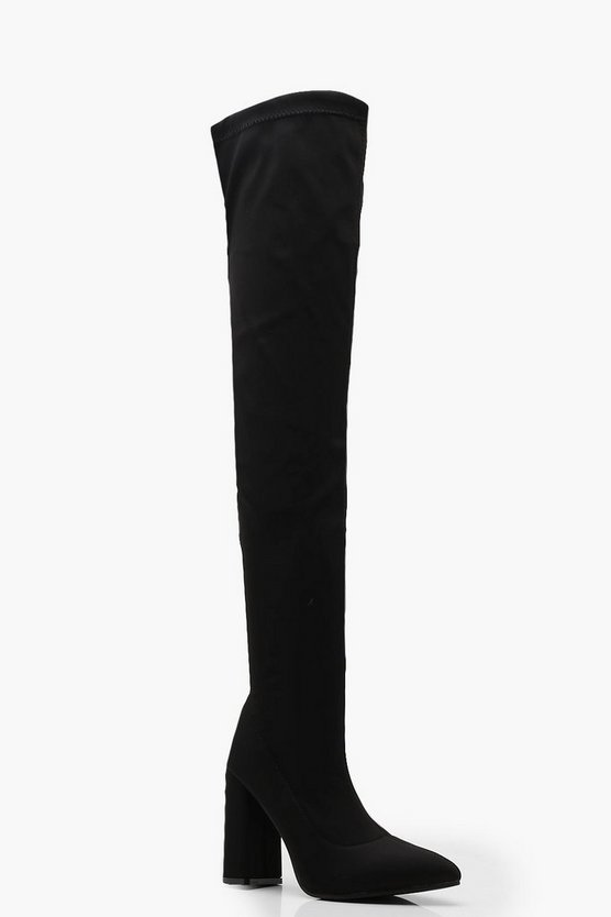 Womens Black Flared Heel Over The Knee Boots