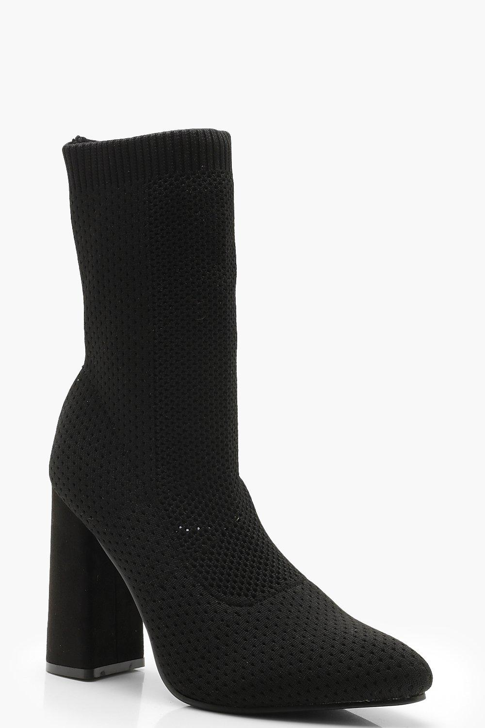 ae5ba7245a3 Womens Black Knitted Sock Boots. Hover to zoom
