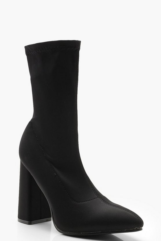 Womens Black Pointed Stretch Sock Boots