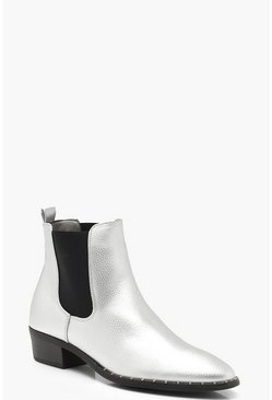 Womens Silver Pointed Toe Chelsea Boots
