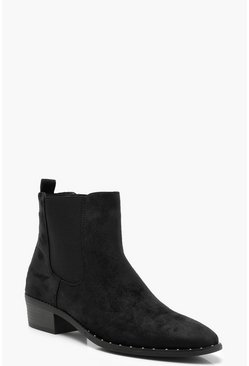 Womens Black Pointed Toe Chelsea Boots