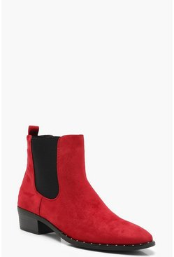 Womens Red Pointed Toe Chelsea Boots