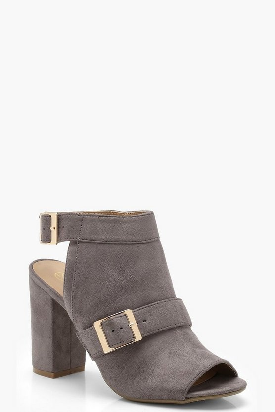 Womens Buckle Trim Block Heel Shoe Boots
