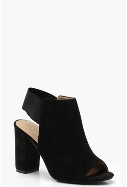 Womens Black Elastic Block Shoe Boots