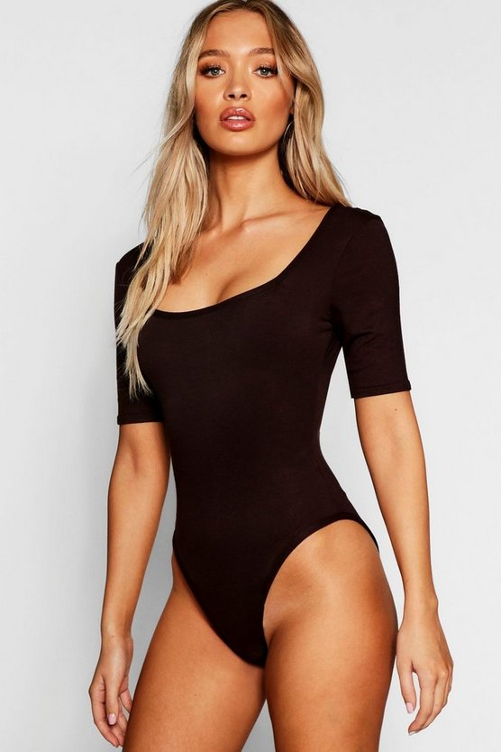 Basic Square Neck Short Sleeve Bodysuit