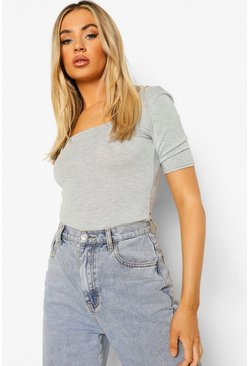 Grey marl Basic Square Neck Short Sleeve Bodysuit