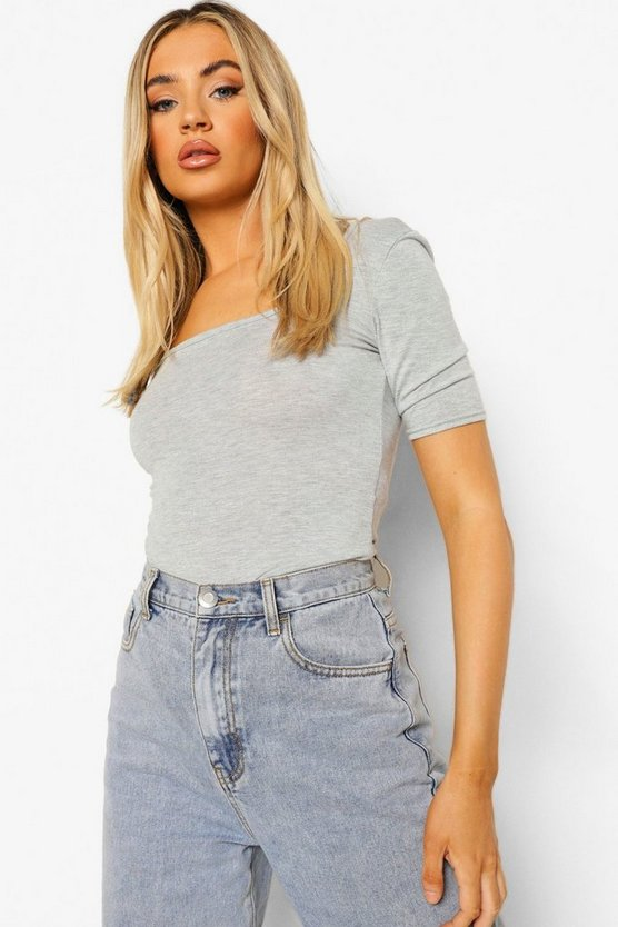 Womens Grey marl Basic Square Neck Short Sleeve Bodysuit