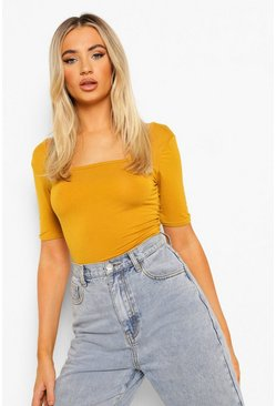 Mustard Basic Square Neck Short Sleeve Bodysuit
