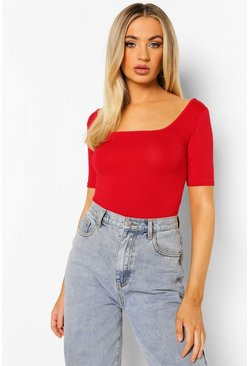 Red Basic Square Neck Short Sleeve Bodysuit