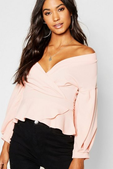 Womens Blush Bell Sleeve Wrap Over Top