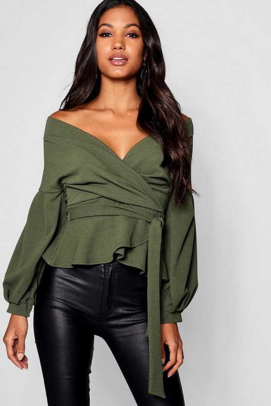 Womens Khaki Bell Sleeve Wrap Over Top