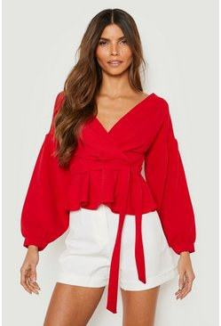Womens Red Bell Sleeve Wrap Over Top