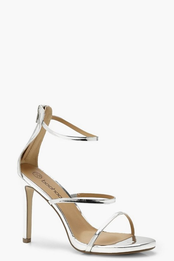 Womens Silver 3 Band Stiletto Mule Sandals