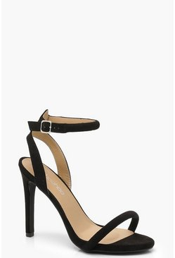 Womens Black Two Part Strappy Heels