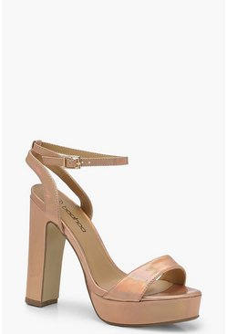 Womens Rose gold Metallic 2 Part Platform Heels