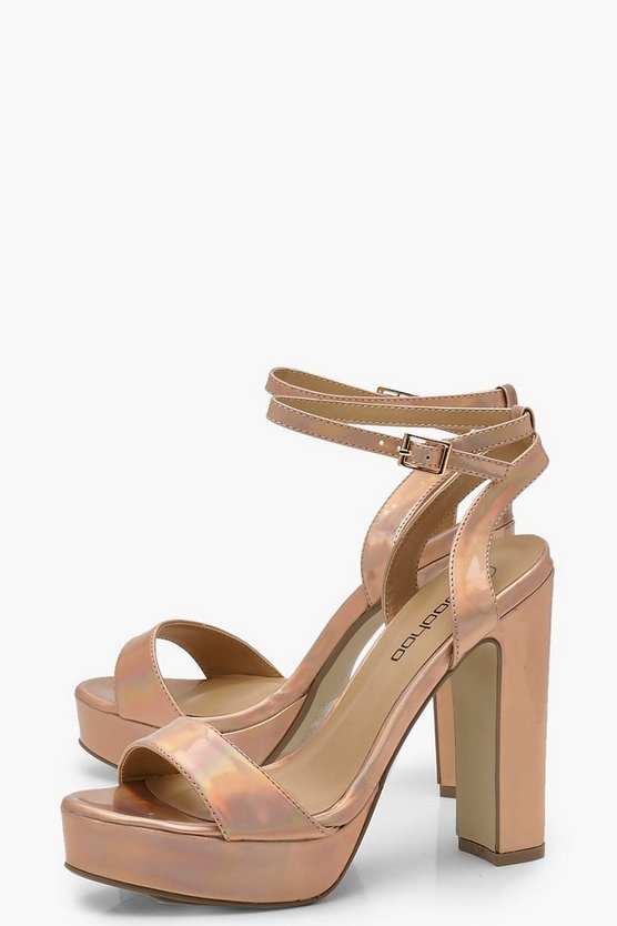 Metallic 2 Part Platform Heels