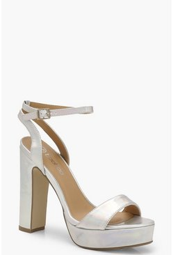 Womens Silver Metallic 2 Part Platform Heels