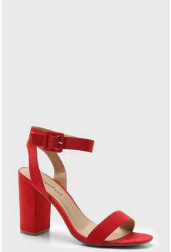 Womens Red Two Part Block Heels