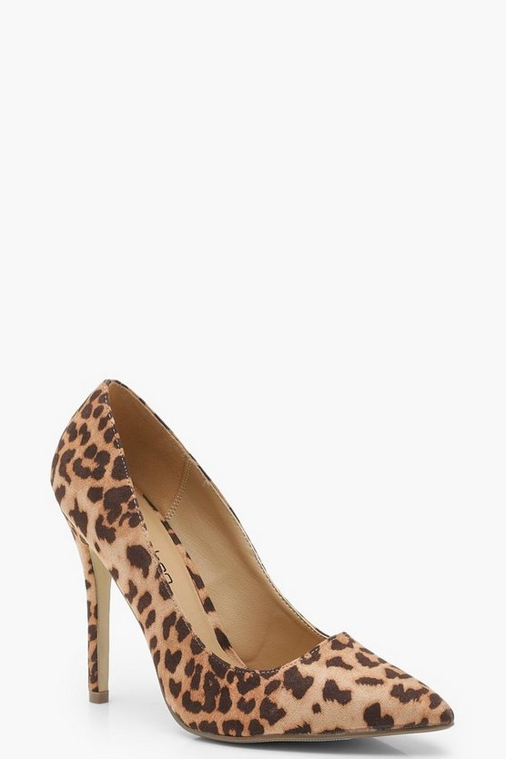 Wide Fit Leopard Court Shoes
