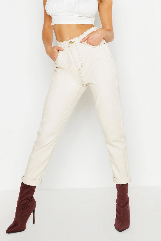 Mom Ecru Contrast Contrast Ecru Stitch Jeans qYCwxPxIU