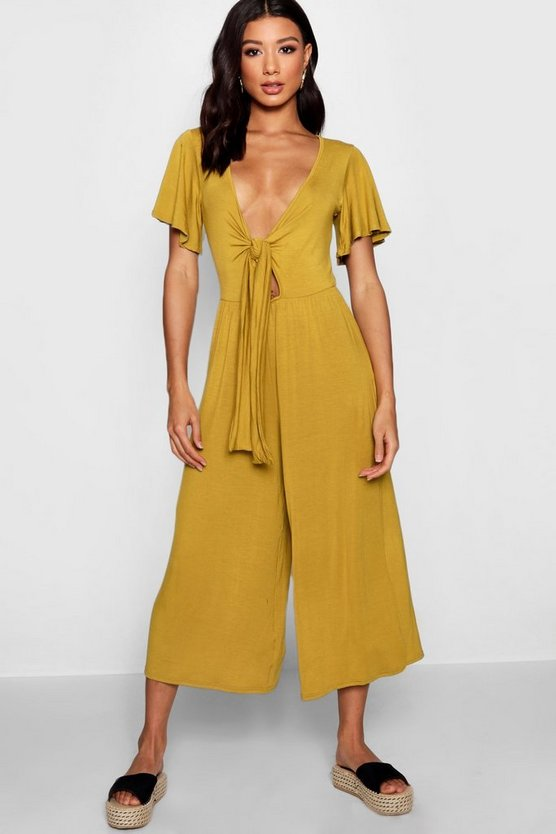 Tie Front Ribbed Culotte Jumpsuit
