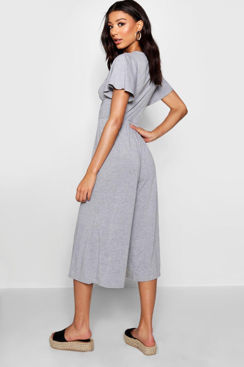 Ribbed Front olive Culotte Tie Jumpsuit f4q55