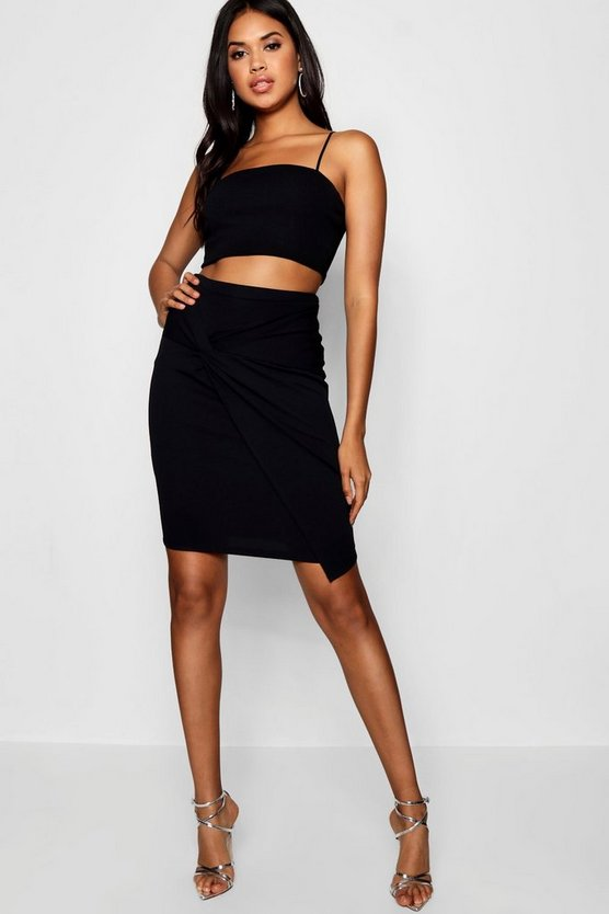 Womens Knot Front Bodycon Midi Skirt