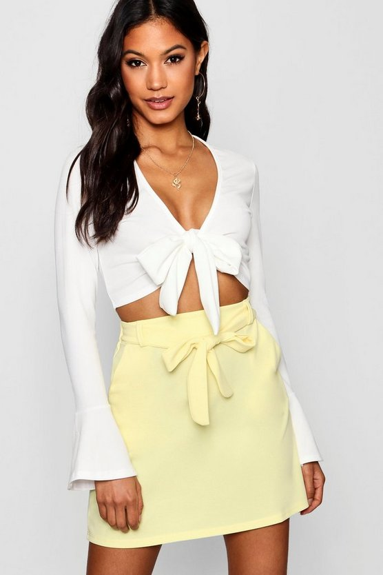 Lemon Tie Waist Pocket Front Mini Skirt