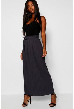Grey marl Tie Waist Pleated Midaxi Skirt
