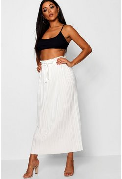 Ivory Tie Waist Pleated Midaxi Skirt