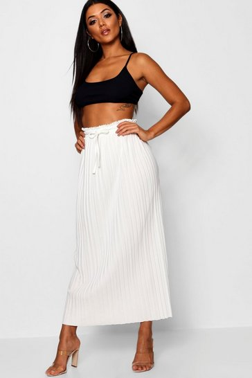 Womens Ivory Tie Waist Pleated Midaxi Skirt