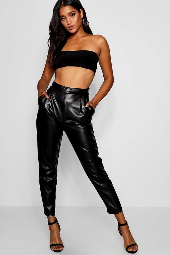 Pu Pocket Leather Look Slim Leg Trousers by Boohoo