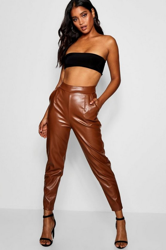 PU Pocket Leather Look Slim Leg Trousers