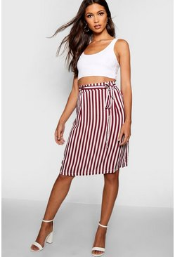 Berry Tie Waist Pocket Woven Stripe Midi Skirt