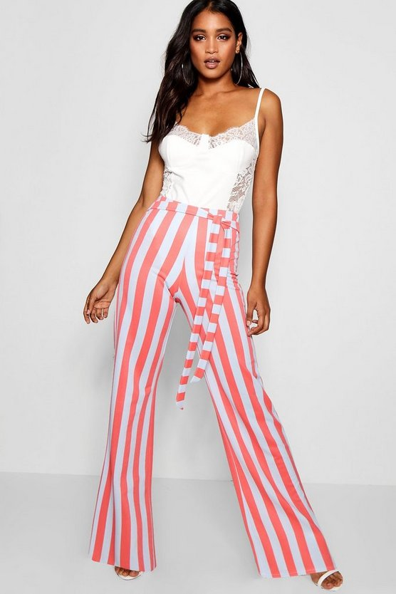 Womens Coral Tie Waist Bold Stripe Wide Leg Pants