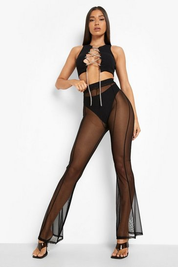 Black Mesh Panelled Flare Trouser