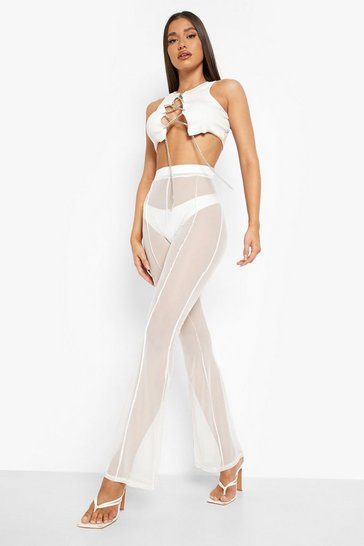 Womens Ivory Mesh Panelled Flare Trouser